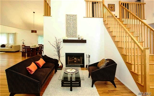 Living room fireplace in Great Neck NY after home staging