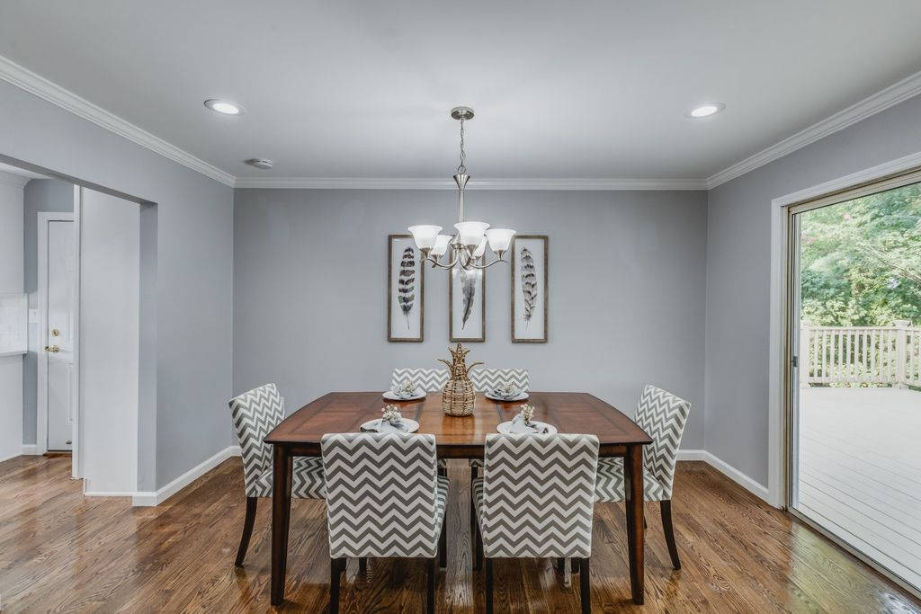 Dining area needed to show ample seating and some modern touches